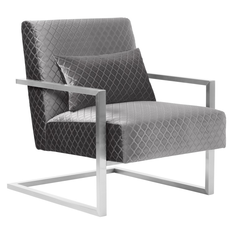 Merveilleux Skyline Contemporary Accent Chair In Gray Velvet With Polished Silver Steel  Finish