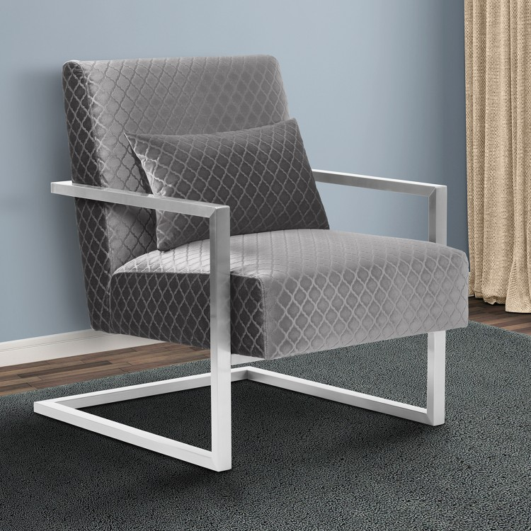 Skyline Contemporary Accent Chair In Gray Velvet With Polished Silver Steel  Finish