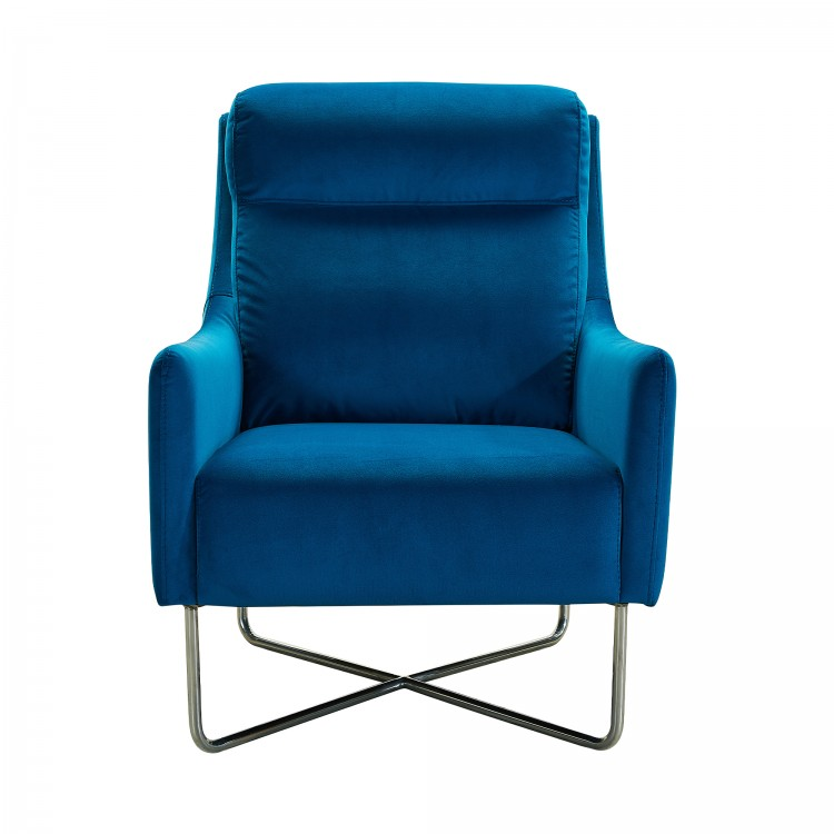 Amber Teal Blue Contemporary Swoop Arm Accent Chair