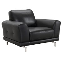 Armen Living Everly Contemporary Chair in Genuine Black Leather with Brushed Stainless Steel Legs