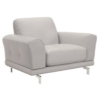 Armen Living Everly Contemporary Chair in Genuine Dove Grey Leather with Brushed Stainless Steel Legs