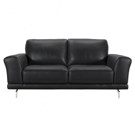 Everly Contemporary Loveseat in Genuine Black Leather with Brushed Stainless Steel Legs