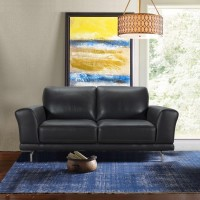 Armen Living Everly Contemporary Loveseat in Genuine Black Leather with Brushed Stainless Steel Legs