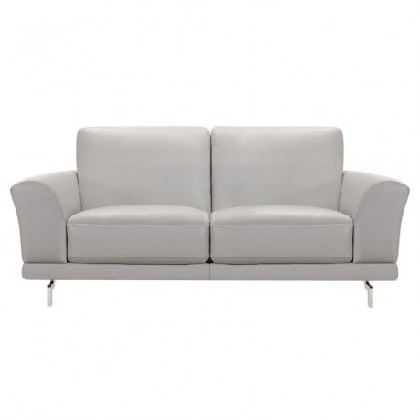 Everly Contemporary Loveseat in Genuine Dove Grey Leather with Brushed Stainless Steel Legs