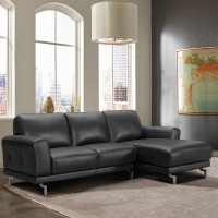 Armen Living Everly Contemporary Sectional in Genuine Black Leather with Brushed Stainless Steel Legs