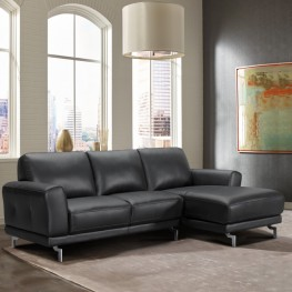 Everly Contemporary Sectional in Genuine Black Leather with Brushed Stainless Steel Legs