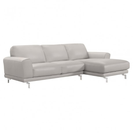 Armen Living Everly Contemporary Sectional in Genuine Dove Grey Leather with Brushed Stainless Steel Legs