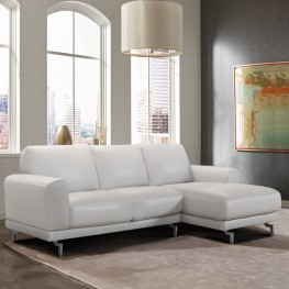 Everly Contemporary Sectional in Genuine Dove Grey Leather with Brushed Stainless Steel Legs