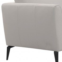 Hope Contemporary Loveseat in Genuine Dove Grey Leather with Black Metal Legs