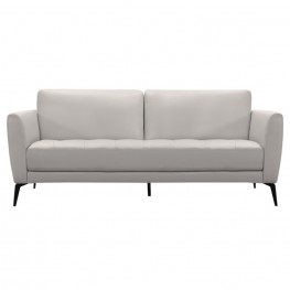 Armen Living Hope Contemporary Sofa in Genuine Dove Grey Leather with Black Metal Legs