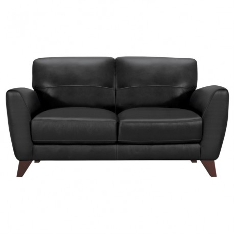 Jedd Contemporary Loveseat in Genuine Black Leather with Brown Wood Legs