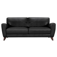 Armen Living Jedd Contemporary Sofa in Genuine Black Leather with Brown Wood Legs