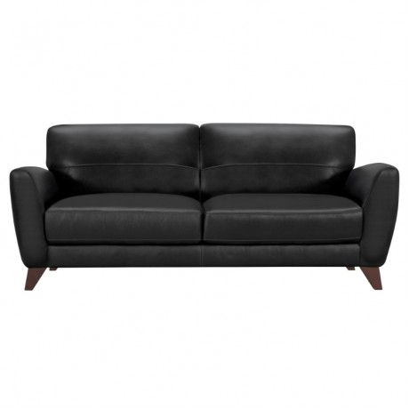 Jedd Contemporary Sofa in Genuine Black Leather with Brown Wood Legs