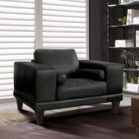 Armen Living Wynne Contemporary Chair in Genuine Black Leather with Brown Wood Legs
