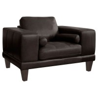 Armen Living Wynne Contemporary Chair in Genuine Espresso Leather with Brown Wood Legs