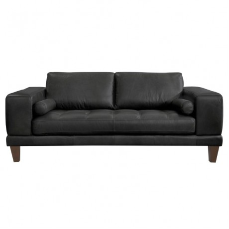 Wynne Contemporary Loveseat in Genuine Black Leather with Brown Wood Legs