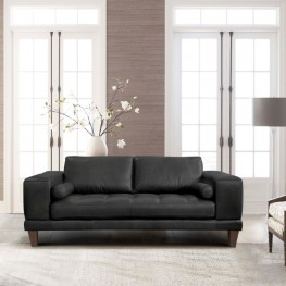 Armen Living Wynne Contemporary Loveseat in Genuine Black Leather with Brown Wood Legs