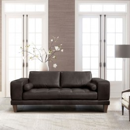 Armen Living Wynne Contemporary Loveseat in Genuine Espresso Leather with Brown Wood Legs