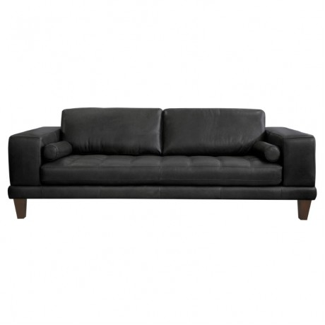 Wynne Contemporary Sofa in Genuine Black Leather with Brown Wood Legs