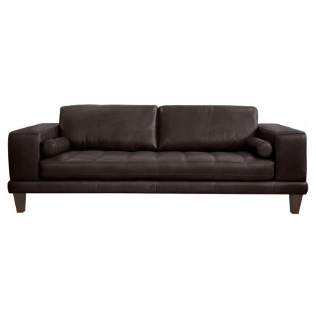 Wynne Contemporary Sofa in Genuine Espresso Leather with Brown Wood Legs