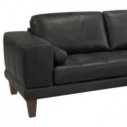 Wynne Contemporary Sectional in Genuine Black Leather with Brown Wood Legs