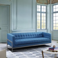 Armen Living Andre Contemporary Sofa in Brushed Stainless Steel and Blue Fabric