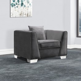 Cambridge Contemporary Sofa Chair in Brushed Stainless Steel and Dark Grey Velvet