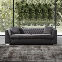Armen Living Cambridge Contemporary Sofa in Brushed Stainless Steel and Dark Grey Velvet