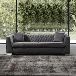 Cambridge Contemporary Sofa in Brushed Stainless Steel and Dark Grey Velvet