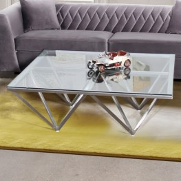 Armen Living Cascade Contemporary Rectangular Coffee Table in Brushed Stainless Steel with Tempered Glass Top