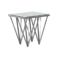 Armen Living Cascade Contemporary Square End Table in Brushed Stainless Steel with Tempered Glass Top