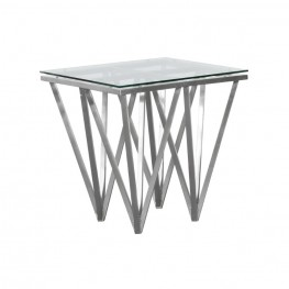 Cascade Contemporary Square End Table in Brushed Stainless Steel with Tempered Glass Top
