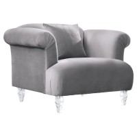 Armen Living Elegance Contemporary Sofa Chair in Grey Velvet with Acrylic Legs
