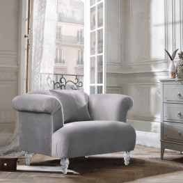 Elegance Contemporary Sofa Chair in Grey Velvet with Acrylic Legs