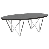 Armen Living Emerald Contemporary Oval Coffee Table in Brushed Stainless Steel with Grey Wood Top