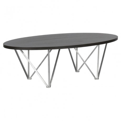 Emerald Contemporary Oval Coffee Table in Brushed Stainless Steel with Grey Wood Top
