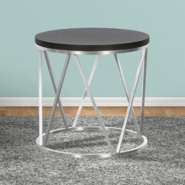 Emerald Contemporary Round End Table in Brushed Stainless Steel with Grey Wood Top