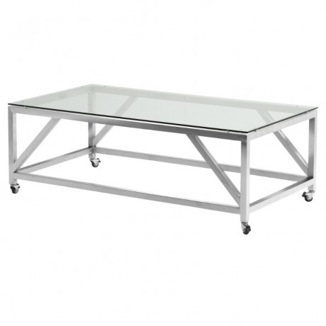 Enessa Contemporary Rectangular Coffee Table with Wheels in Brushed Stainless Steel with Tempered Glass Top