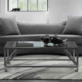 Armen Living Enessa Contemporary Rectangular Coffee Table with Wheels in Brushed Stainless Steel with Tempered Glass Top