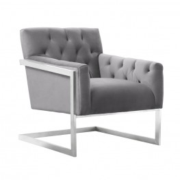 Emily Contemporary Accent Chair in Brushed Stainless Steel with Grey Velvet