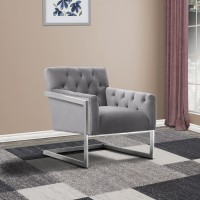 Armen Living Emily Contemporary Accent Chair in Brushed Stainless Steel with Grey Velvet