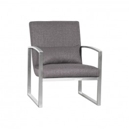 Leonard Contemporary Accent Chair in Brushed Stainless Steel with Grey Fabric