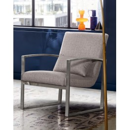 Armen Living Leonard Contemporary Accent Chair in Brushed Stainless Steel with Grey Fabric