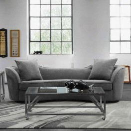 Armen Living Palisade Contemporary Sofa in Grey Velvet with Brown Wood Legs
