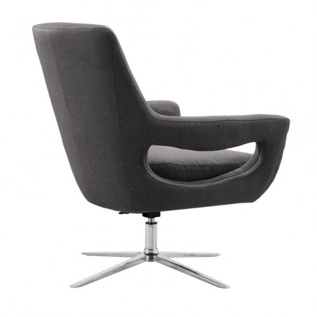 Quinn Contemporary Adjustable Swivel Accent Chair in Polished Chrome Finish with Grey Fabric