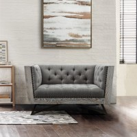 Armen Living Regis Contemporary Chair in Grey Fabric with Black Metal Finish Legs and Antique Brown Nailhead Accents