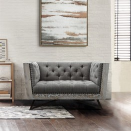 Regis Contemporary Chair in Grey Fabric with Black Metal Finish Legs and Antique Brown Nailhead Accents