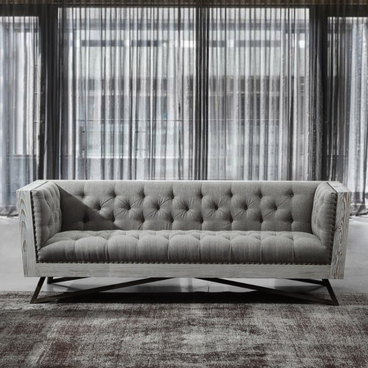 Armen Living Regis Contemporary Sofa In Grey Fabric With Black Metal