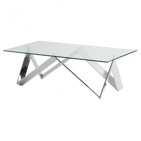 Scarlett Contemporary Rectangular Coffee Table in Polished Steel Finish with Tempered Glass Top