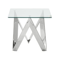 Armen Living Scarlett Contemporary Square End Table in Polished Steel Finish with Tempered Glass Top